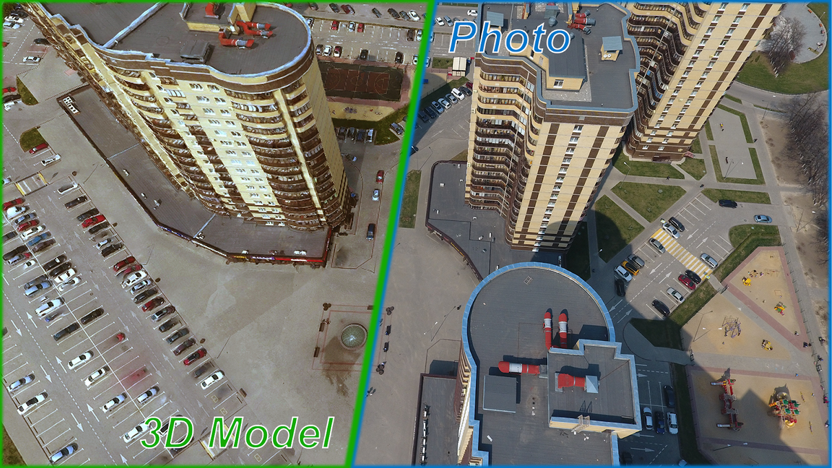 Realistic 3D model rendered by a photogrammetric algorithm